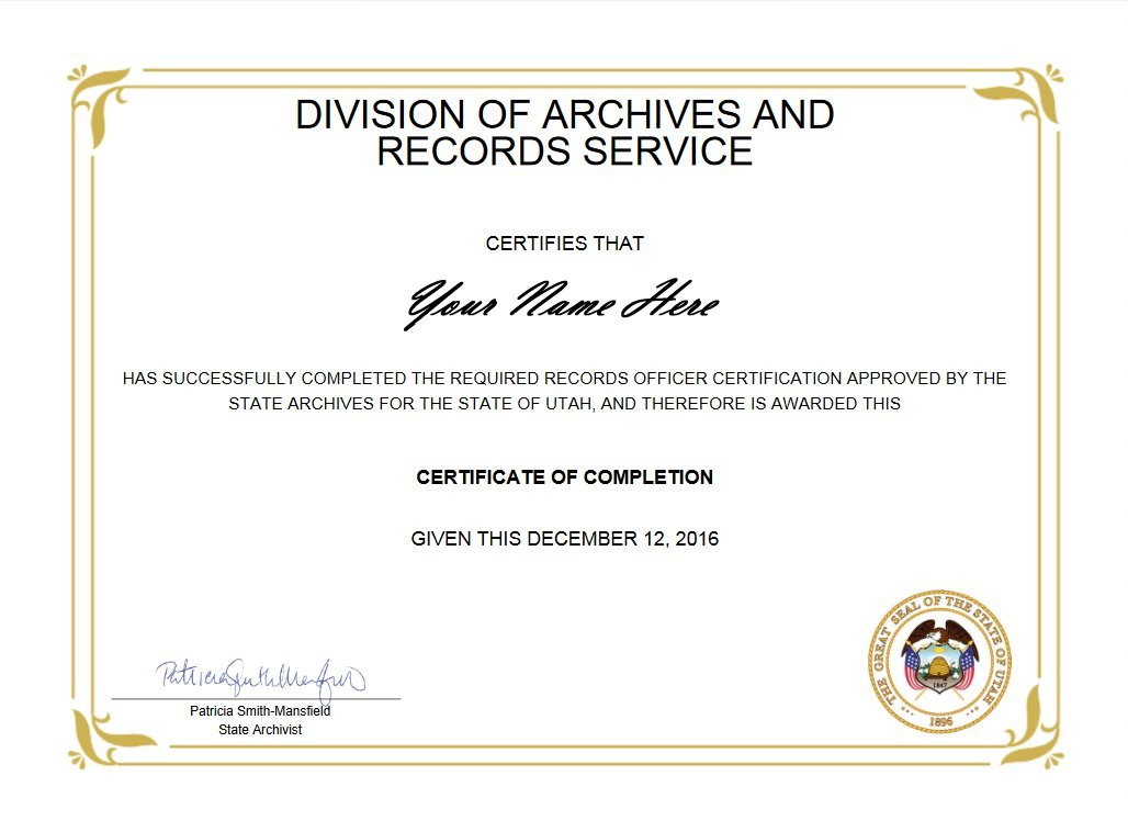 Records Officer Certificate